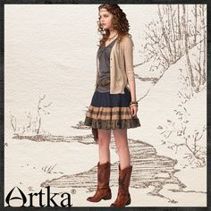 Artka - Артка & Artka Короткая юбка в стиле ретро с вышивкой QA10541X - F2