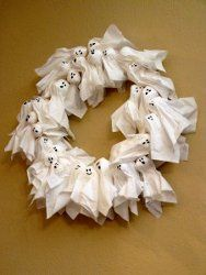 Ghost wreath (tissue paper and cotton balls)