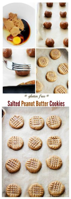 Gluten Free Salted Peanut Butter Cookies - Made with just a few ingredients, these Peanut Butter Cookies are fudgy, sweet and salty, gluten free and naturally sweetened!