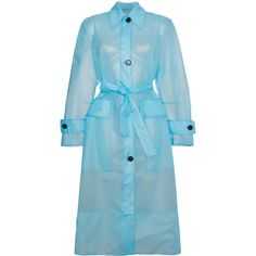 Calvin Klein 205W39nyc Plastic Belted trench Coat ($2,301) via Polyvore featuring outerwear, coats, blue, belted trench coat, belted coat, blue coat, plastic coat and blue trench coats