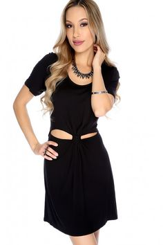 Black Cinched Cut Out Short Sleeve Casual Dress. Dresses For Teens fc9b3aa5a3b4