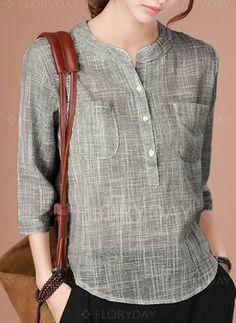 Llanura Casuales Algodon Cuello Redondo - #blouse