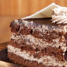 This chocolate mousse layer cake is light and fluffy and so delicious. Chocolate Mousse Layer Cake Recipe from Grandmothers Kitchen.