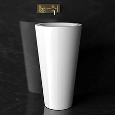 TOM TOM tasteful in it's simplicity . The tapering shape give momentum to your bathroom. Bathroom Basin, Glass Design, Modern Luxury, Game Room, Ibiza, Toms, Toilet, Tableware, Color