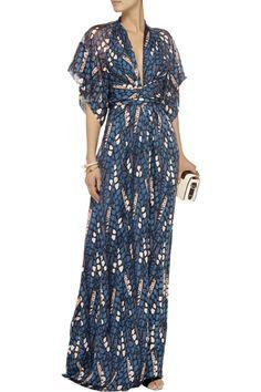 Issa Draped printed silk maxi dress