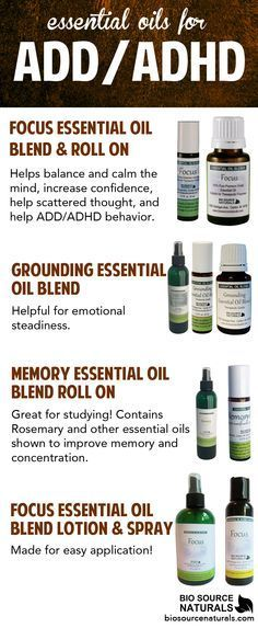Essential oils for ADHD for kids. Try FOCUS ™ Essential Oil Blend helps balance and calm the mind, increase confidence, help scattered thought, and help ADD/ADHD behvior. Grounding essential oil blend support emotional steadiness. Memory essential oil blend contains Rosemary essential oil which stimulate memory.
