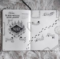 Harry Potter Journal, Arte Do Harry Potter, Images Harry Potter, Harry Potter Drawings, Harry Potter Diary, Bullet Journal Notebook, Bullet Journal School, Bullet Journal Spread, Bullet Journal Layout