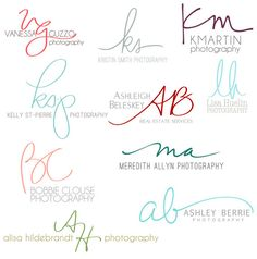 Handwritten Initials, Custom Logo, photoshop brush, transparent .png files photography business on Etsy, $55.00