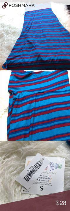 Spotted while shopping on Poshmark: Lularoe maxi skirt red blue stripes sz S NWT! #poshmark #fashion #shopping #style #LuLaRoe #Dresses & Skirts