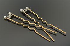 Item #1999 Edwardian Diamond and Seed Pearl Hair Pins