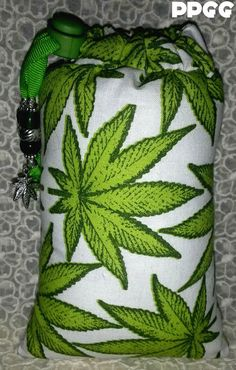 Spoon Sized Marijuana Leaf Padded Pipe Pouch with by PrettyPouches, $15.00