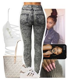 """When it gets cold & I'm feelin kinda lonely"" by trillest-k ❤ liked on Polyvore featuring WithChic, MICHAEL Michael Kors, Örjan Andersson and adidas Originals"