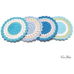 Crochet Blue coasters, Crochet colorful coasters, Set of 4 coasters,... ($14) ❤ liked on Polyvore featuring home, kitchen & dining and bar tools