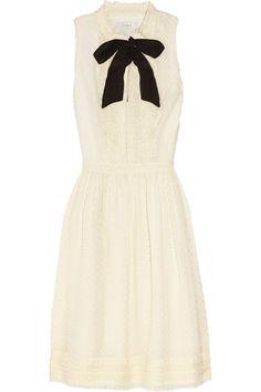 J.Crew|Swiss-dot silk-blend dress|NET-A-PORTER.COM