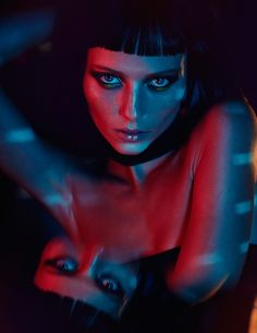 Vika Falileeva models a brunette hairstyle with short bangs for Schon Magazine March 2016 issue