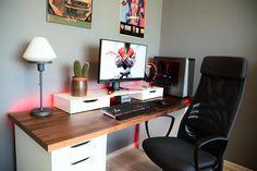 game room decoration assistance with utility Computer Desk Setup, Gaming Room Setup, Pc Desk, Gaming Desk, Pc Setup, Office Setup, Office Workspace, Ikea Alex, Home Office