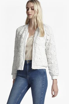 <ul> <li> Lined floral lace bomber jacket</li> <li> Baseball collar</li> <li> Long sleeves</li> <li> Angled front slip pockets</li> <li> Exposed silver-tone zip fastening</li> <li> Ribbed edges at collar, cuffs and hem</li> <li> Slim fit in gently cropped length</li> <li> UK size 10 length is 56.5cm <ul> </ul> </li> </ul>