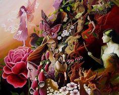 Pink Faeries - Mythology Fantasy Goddess Art by Emily Balivet