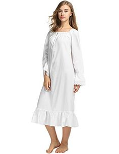Avidlove Womens Cotton Victorian Nightgowns Romantic Long Bell Sleeve  Nightshirt Vintage Nightgown c4aa32763