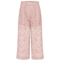 Valentino Lace Wool and Silk Culottes ($2,275) ❤ liked on Polyvore featuring pants, capris, pink, lace-up pants, wool pants, pink pants, woolen pants and pink trousers