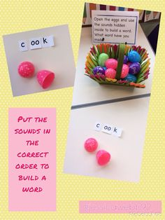 Put the sounds hidden inside the eggs in the correct order to build a word. EYFS