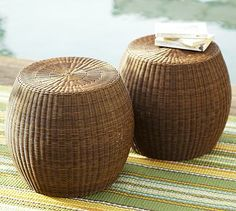 Palmetto All-Weather Wicker Accent Table - Honey #potterybarn