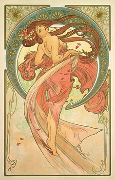 """Alphonse Mucha: Coloured glass picture """"The Dance"""" (1898)"""