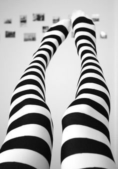 Black and white striped tights -- Alice in Wonderland.