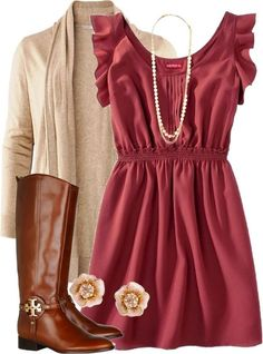 whie and brown Fall Outfit Ideas | ... long jacket, long dress and brown long boots combination for fall
