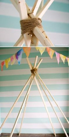 DIY: fabric teepee (no sew) in fabric diy with teepee kids DIY #TribalBirthdayParty