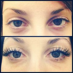 Beautiful before and after eyelash extensions. Look at how they open up your eyes and make you look glam without doing anything!