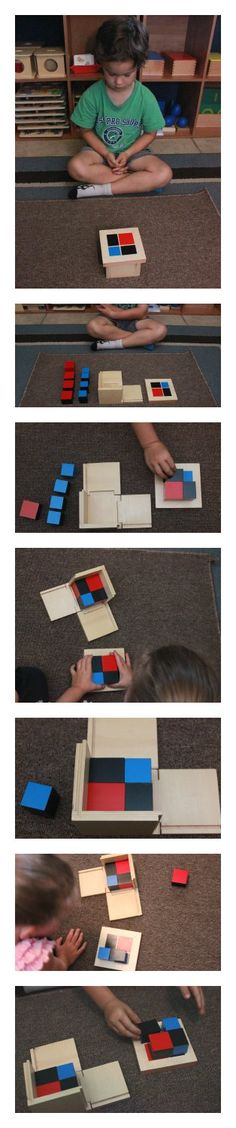 Here is the Binomial Cube, which is a visual and tactile work. You will see a step-by-step presentation and a free printable for you! Montessori Math, Montessori Toddler, Montessori Materials, Family Day Care, Play Based Learning, Forest School, Practical Life, Teaching Kindergarten, Reggio Emilia