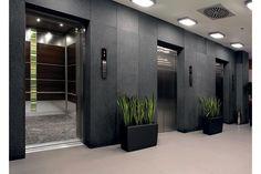 Elevator Interior   LEVELe-107 Elevator Interior with main panels in Wenge wood veneer ...
