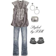 casual charcoal gray embellished top with destroyed jeans, silver accents. Great outfit. Add a cardigan for chilly weather, fall winter.