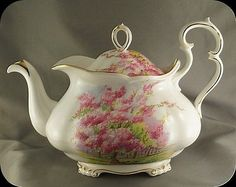 Large Royal Albert Blossom Time Teapot Tea Pot Very Rare Victorian Shape