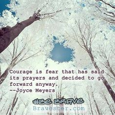 Inspirational quote:  Courage is fear that has said its prayers and decided to go forward anyway.