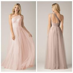 Dusty Pink Bridesmaid Dresses Soft Tulle One Shoulder Hollow Out Back Ruffles…