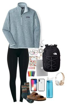 """school"" by gracel03 on Polyvore featuring Patagonia, Smartwool, Birkenstock, Kendra Scott, The North Face, Paper Mate and CamelBak"