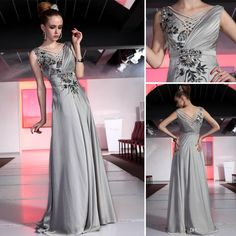 Cheap V Neck Evening Dresses - Discount V Neck Sequined And Beaded Satin Chiffon Floor Length Elegant Long Evening Formal Party Dresses Online with $113.2/Piece | DHgate