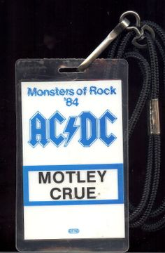 Personal Vince Neil Used tour n stage pass for monsters of rock tour 1984