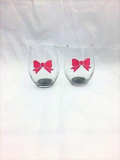 Bow Wine Glass, Bridal Shower Glasses, Best Friend Glass, Stocking Stuffers for Women, Custom Glass, Glitter Wine Glass, Bridal Shower Favor