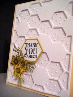 Stampin' Up! ... handmade thank you card ... Hexagon Showcase ... hexagon backgound die ... the embossing folder dots from backaground showing in the open hexagon spaces ... great card!