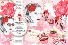 Excited to share the latest addition to my #etsy shop: Valentines Clipart Love Clip Art Romantic Girl Love Letter Hand Drawn Illustrations Love Book, Love Glasses 29 images, 300 dpi, PNG files http://etsy.me/2mOAWRa