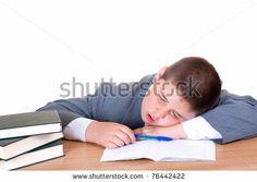 boys doing homework | Tired boy sleeping while doing homework over white background - stock ...