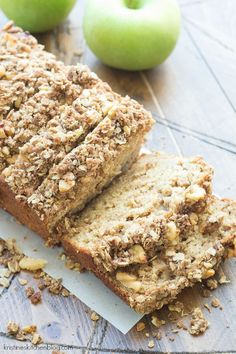 This Greek Yogurt Apple-Cinnamon Quick Bread by kristineskitchenblog: This is so moist, has a walnut oat streusel and is delicious for breakfast (or dessert). #Bread #Apple #Cinnamon #Yogurt