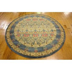 World Menagerie Fonciere Brown/Blue Area Rug Rug Size: Round 6'