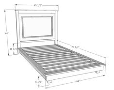 Fillman twin platform bed DIY project from Ana White Bed Frame Sizes, Diy Bed Frame, Easy Diy Projects, Home Projects, Camas Twin, Furniture Plans, Diy Furniture, Build A Platform Bed, Platform Beds