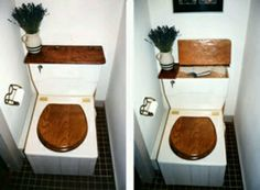 Composting toilet - liked the carbon medium storage area - looks more like a typical toilet anyone would feel comfortable using.
