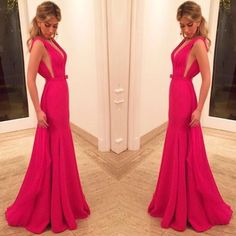 Vestidos de Festa, Sexy V Neck Hot Pink Prom Dress, Formal Prom Gown, Woman Evening Dress, Elegant Formal Dresses, Custom Made Prom DressWant a glamorous red carpet look for a fraction of the price? T..