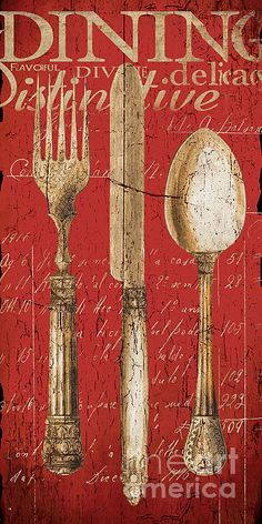 Vintage Dining Utensils In Red Painting by Grace Pullen - Vintage Dining Utensils In Red Fine Art Prints and Posters for Sale